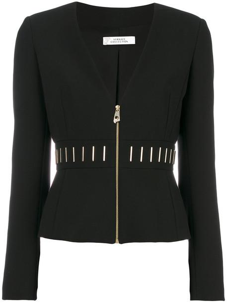 Versace Collection jacket women spandex cotton black