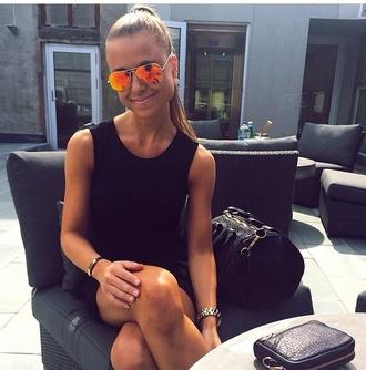 sunglasses orange sunglasses black dress classy
