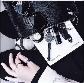 bag black white grey sunglasses lipstick fashion jeweller ring monochrome jewels