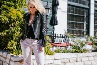 the courtney kerr blogger pants jacket belt shoes jewels