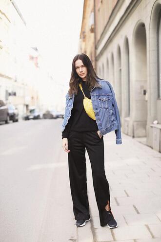 carolines mode blogger pants sweater jacket denim jacket spring outfits