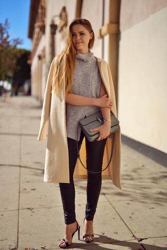 kayture blogger sleeveless beige coat grey bag skinny pants sandals sandal heels classy