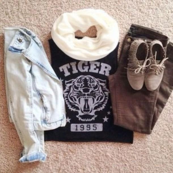 shirt tiger 1995 black t-shirt shoes jacket