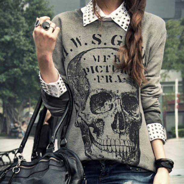 sweater grey sweater skull sweater