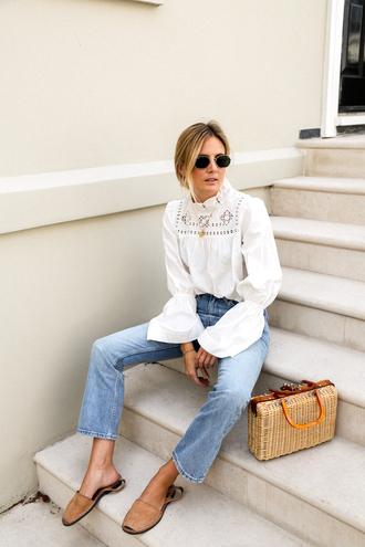 blouse tumblr white blouse bell sleeves denim jeans blue jeans sandals flat sandals espadrilles bag basket bag sunglasses shoes