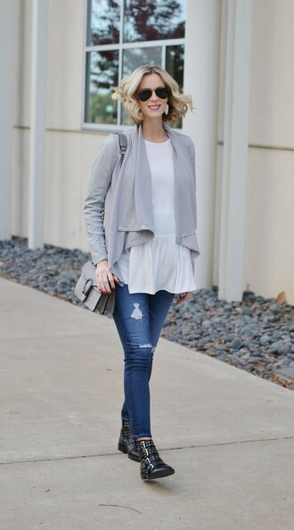 straight a style blogger jacket jeans blouse bag shoes sunglasses grey jacket gucci bag grey bag boots cardigan