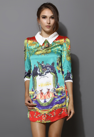dress classical print asymmetrical shift dress blogger