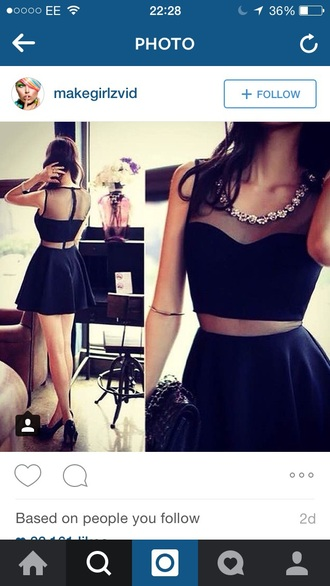 dress black dress black crop top black skirt style