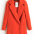 Red Lapel Double Breasted Slim Trench Coat - Sheinside.com
