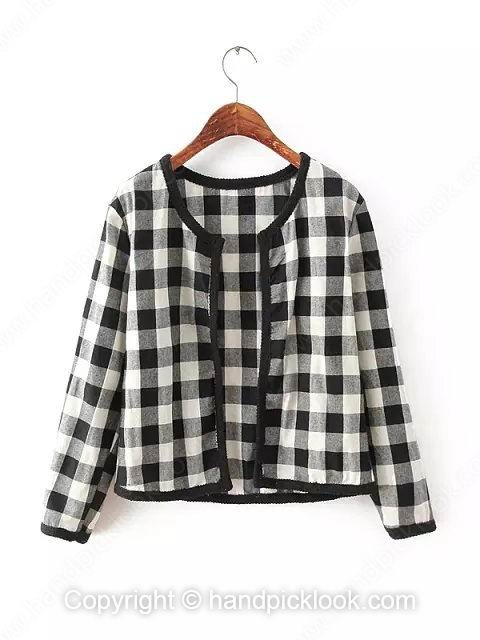 Black and White Long Sleeve Plaid Coat - HandpickLook.com