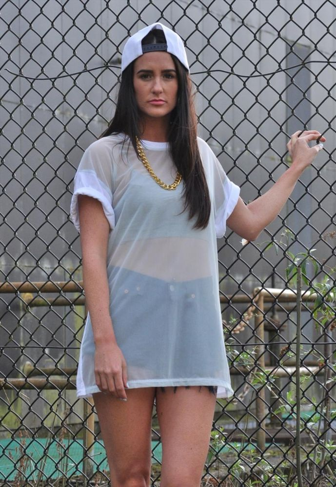 Over sized mint green on white sheer front t shirt dress top