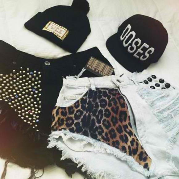 black shorts denim shorts cheetah shorts hat shorts