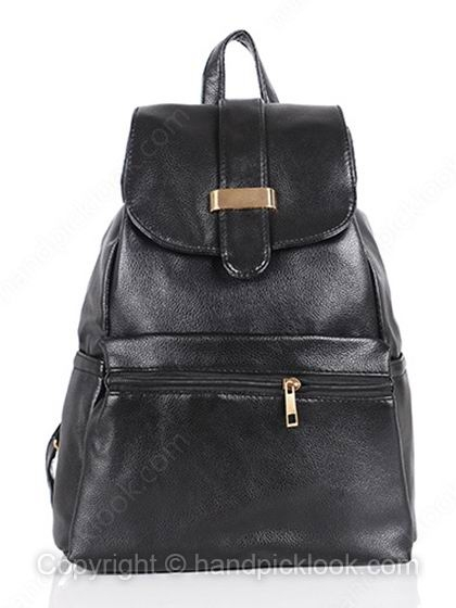 Black Drawstring Clasp PU Leather Backpack - HandpickLook.com