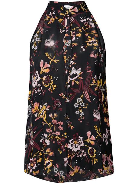 A.L.C. blouse sleeveless women floral print black silk top