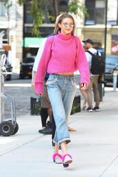 sweater,pink,shoes,gigi hadid,model off-duty,jeans,streetstyle,nyfw 2017,ny fashion week 2017
