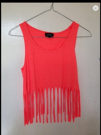 tank top neon topshop fringed top top cute tassel fringes pink bright crop tops summer style fashion sleeveless crop tops orange illuminous eye-catching