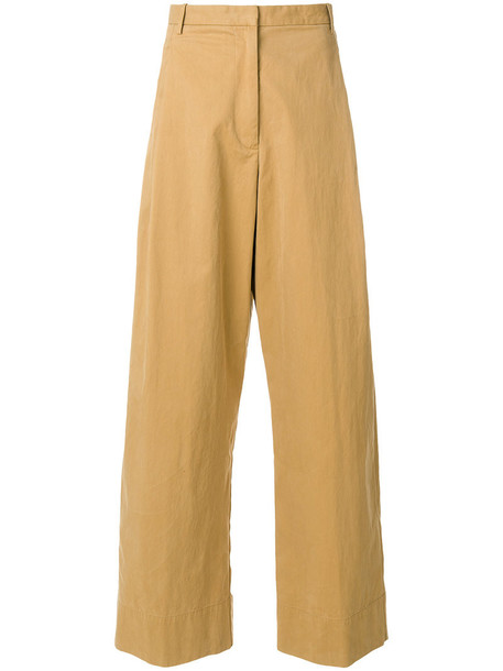 pleated women cotton brown pants