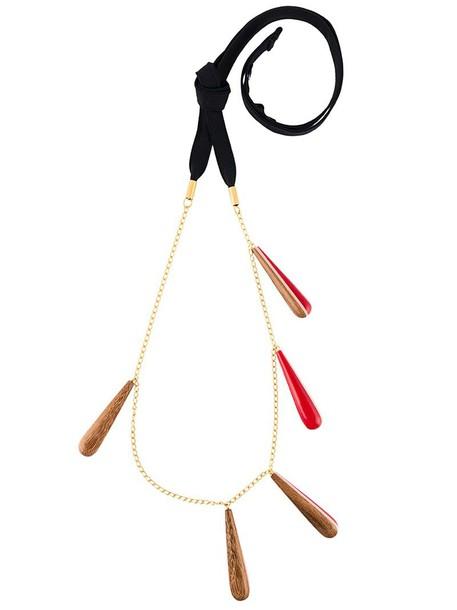 wood women necklace pendant cotton jewels