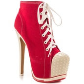 shoes,high heels,sneakers,red,white,spikes,laces,platform lace up boots