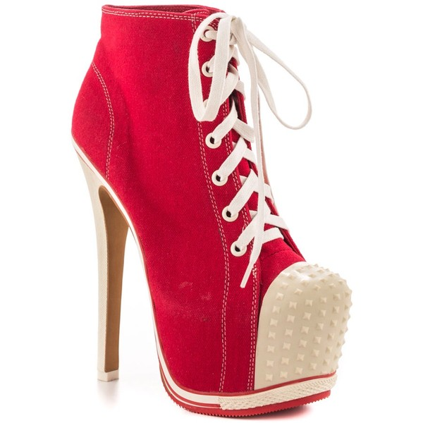 shoes high heels sneakers red white spikes laces platform lace up boots