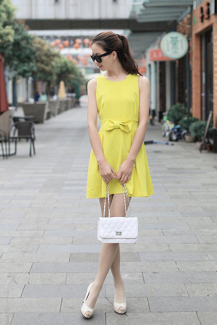 Yellow bow sleeveless dress skater dress ghl0252