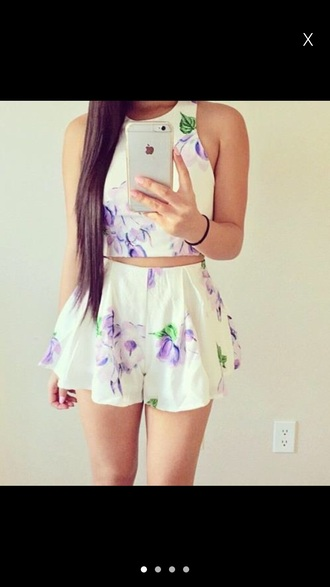 dress cream dress white dress floral purple white cream