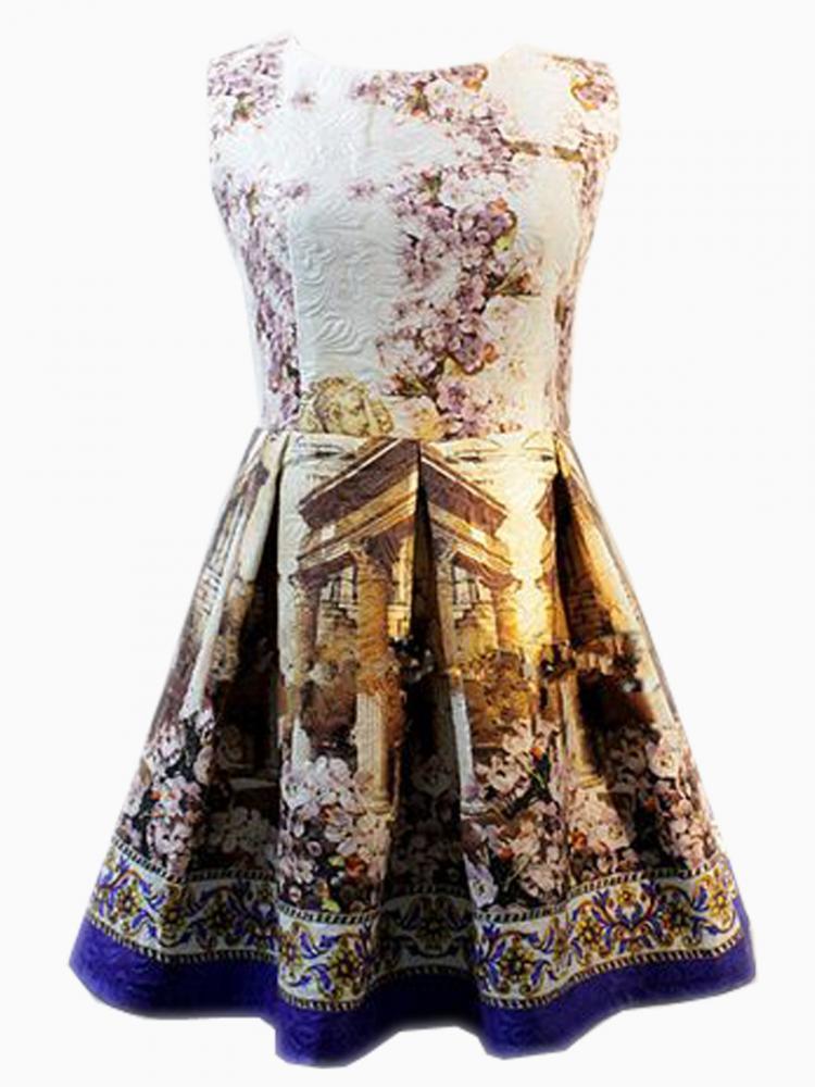 Embossed Skater Dress In Oil Floral Printing | Choies