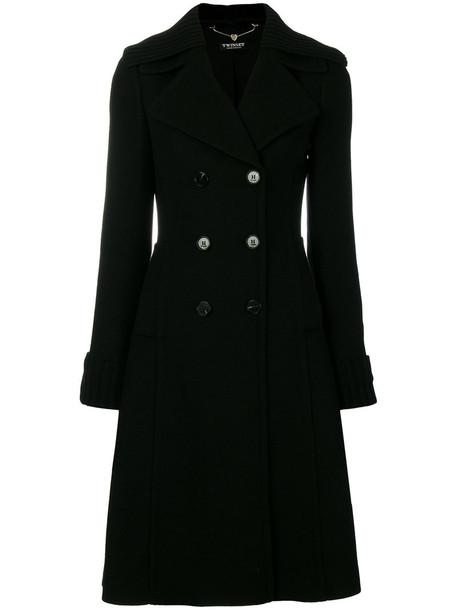 Twin-Set coat women classic spandex cotton black wool