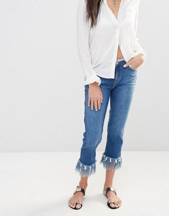 jeans frayed denim cropped blue jeans