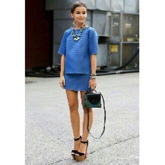 top miroslava duma two-piece heels strappy sandals blue skirt skirt shoes statement necklace