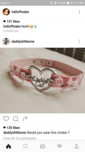 jewels choker necklace pink