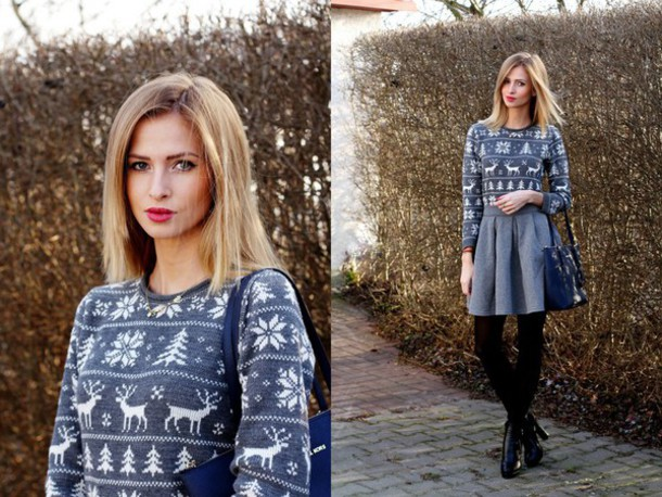 beauty fashion shopping blogger grey skirt christmas sweater sweater skirt bag shoes jewels