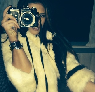coat fuzzy coat white fur white fuzzy coat