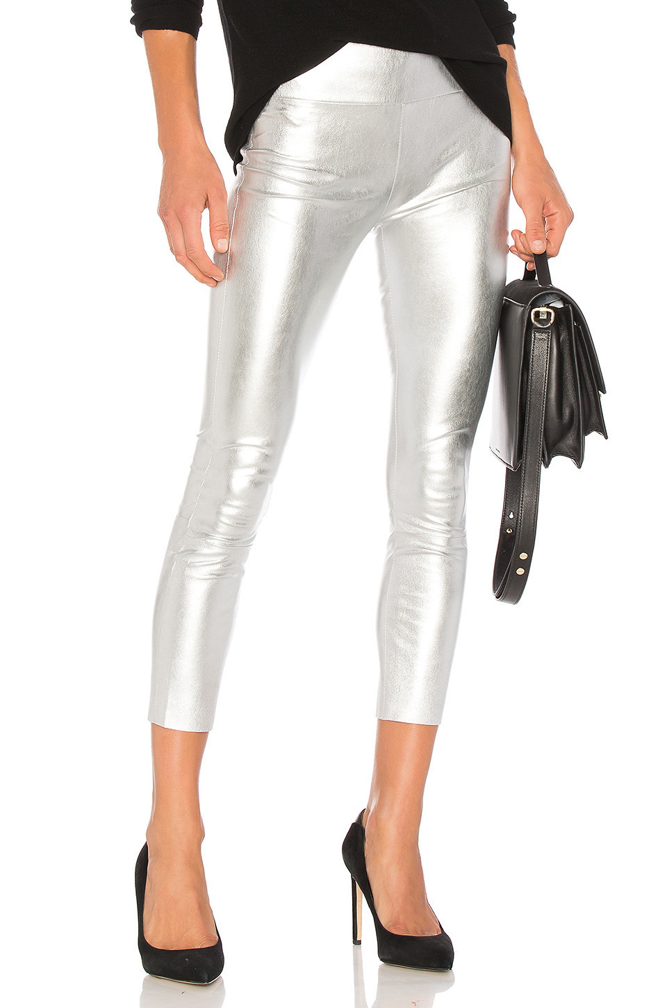 SPRWMN High Waist 3/4 Legging in metallic / silver