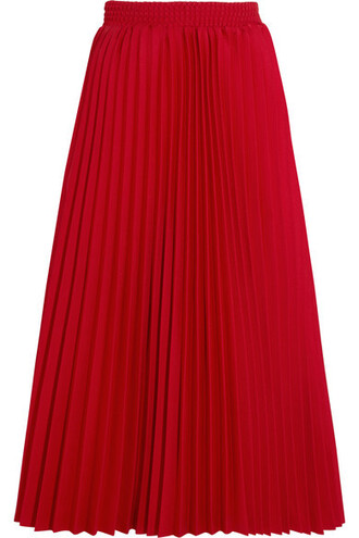 skirt midi skirt pleated midi red