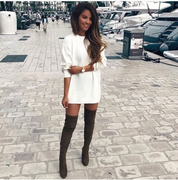 5afdf94e6d dress white sweater thigh high boots black winter outfits cute outfits  outfit shoes cream cream dress