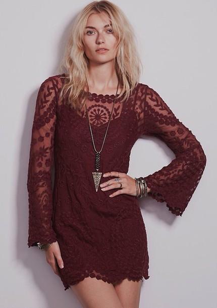 dress burgundy dress lace dress burgundy