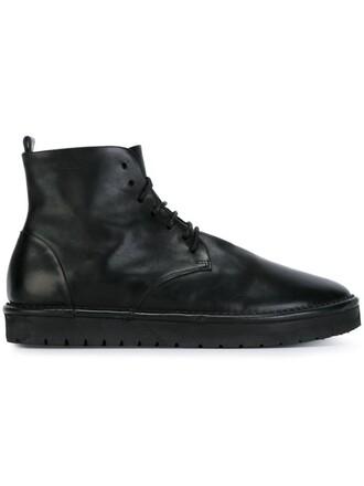 women boots lace leather black shoes