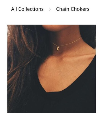 jewels necklace chain chocker moon choker necklace moon necklace