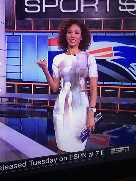 dress it was worn by sage steele light colored bodycon dresss