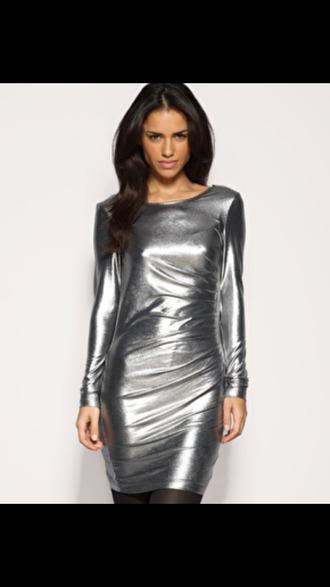 dress metallic silver long sleeve dress prom dress