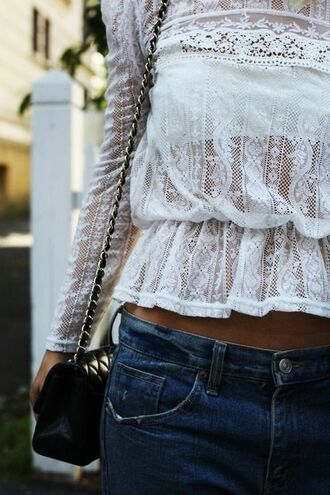 shirt white top lace pretty lace flowy top long sleeves elastic waist blouse lace blouse clothes white lace top bag t-shirt cute weheartit lovely girly summer luxury beautiful chic jeans hot shorts spring warm fashion white top white blouse lace dress white dress white lace dress white lace see through