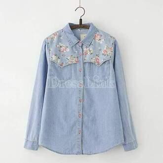 shirt floral denim denim shirt