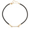 Rebecca minkoff pave arrow on leather cord necklace - gold/crystal