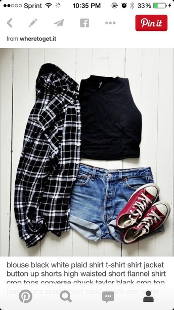 top black and white plaid flannel shirt