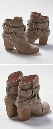 shoes,taupe,american eagle outfitters,suede,booties,double buckle boots