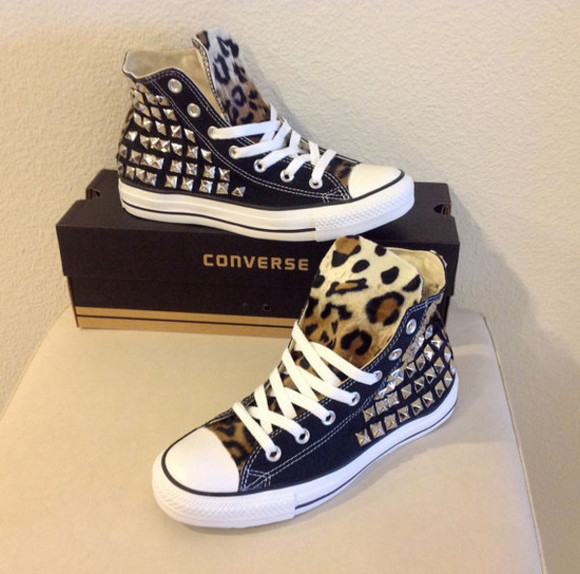 shoes studded shoes chucks omg studdedchucks, doityourself studs leopard converse high tops