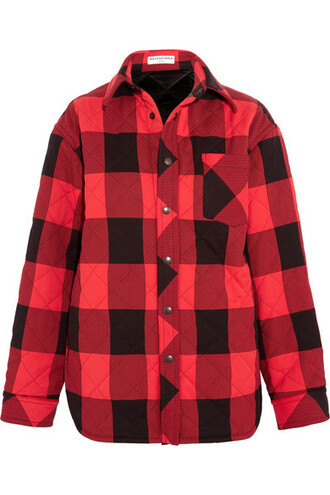 shirt oversized quilted red top