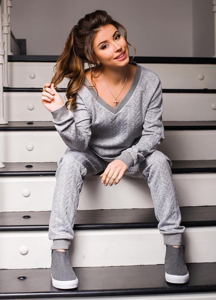 ef5623d90f1158 Women's Sporty Texture V-Neck Sweatshirt Sweatpants 2 Piece Tracksuit
