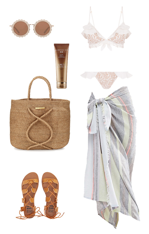 swimwear travel summer beach summer holidays raffia bag beach bag leather sandals flats body care ruffled bikini white bikini ruffle round sunglasses retro sunglasses wedding wedding clothes weekend escape cover up for love and lemons cute outfits outfit idea underwear shoes sunglasses bag